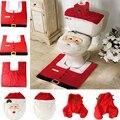 Feliz Año Nuevo 3 Unids/set Navidad Decoración Para El Hogar Cubierta de Asiento de Inodoro y Alfombra de Baño Sí Santa Claus de Santa Navidad ornamento