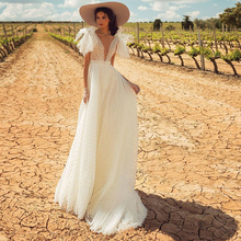 Fashion Boho Wedding Dress Sexy deep v-Neck Backless Chapel Bridal bow spot appliques Party Gowns