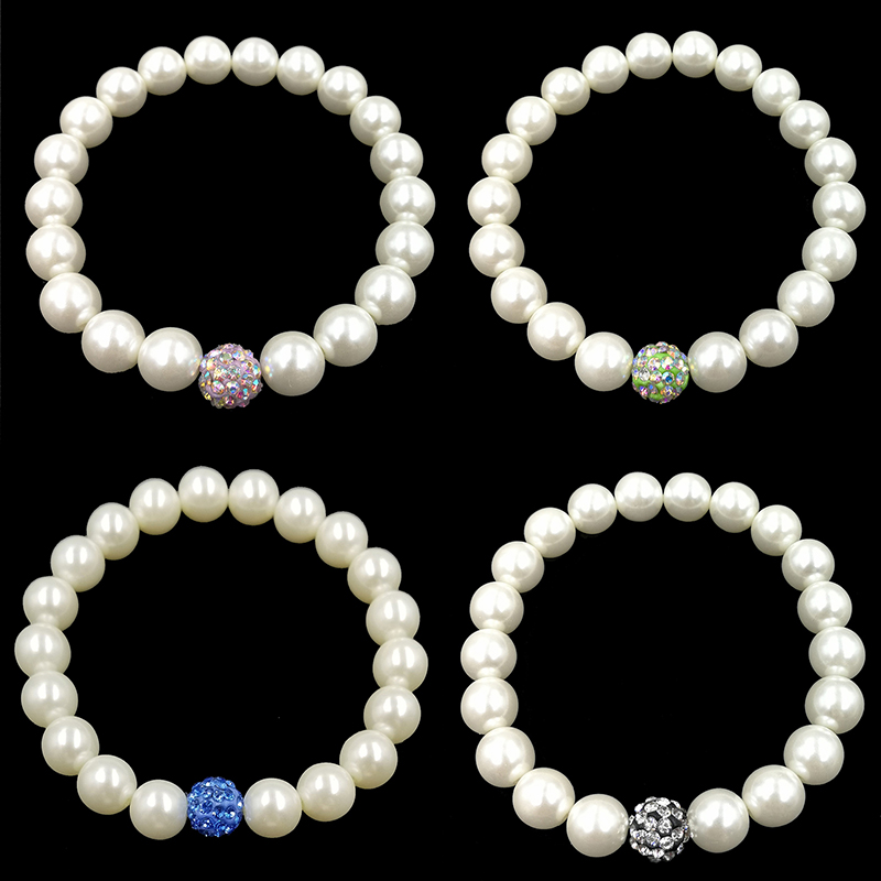 1 St Hot Trendy Delicate Witte Olivet Elastische Charmant Kleurrijke Crystal Vrouwen Lady Meisje Armbanden Een Plus Een Gratis