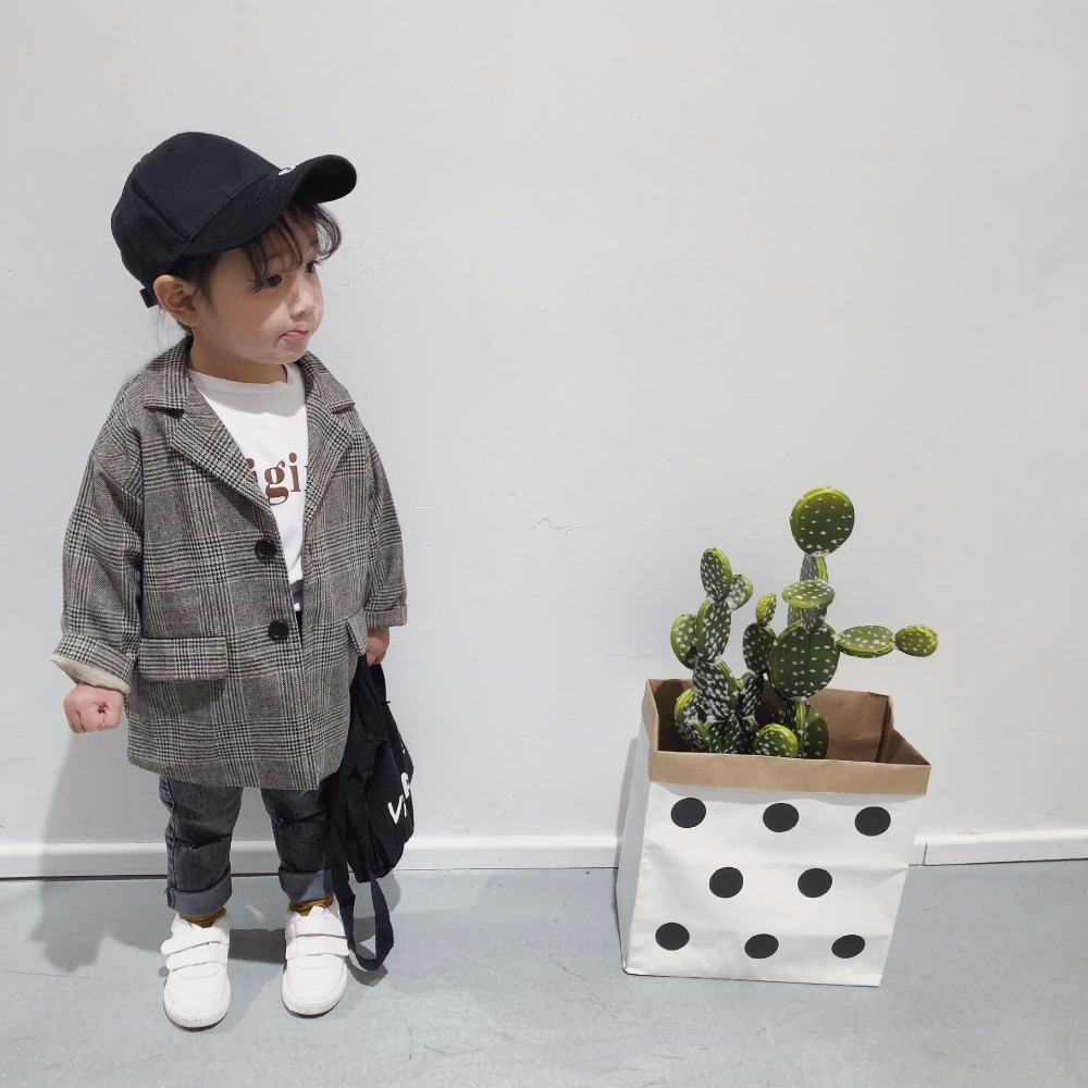 2018 Korea Baby Girl Boys Long Blazer Jackets Classic Plaid Coat Outerwear jacket for kids girl Casaco Menina Children Clothes