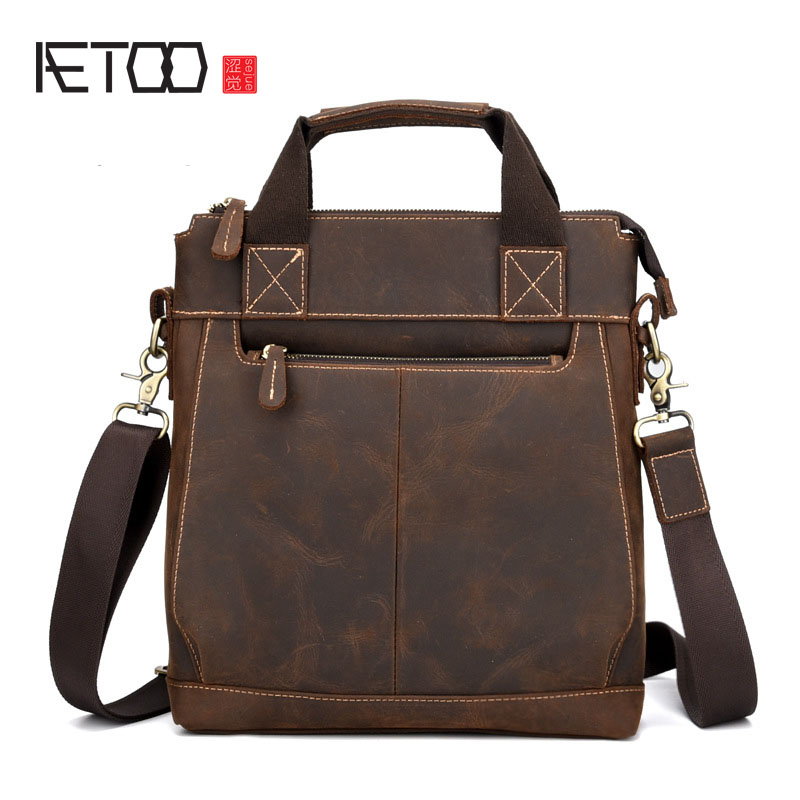 AETOO New retro business handbag crazy horse leather briefcase shoulder diagonal Messenger bag shoulder diagonal package