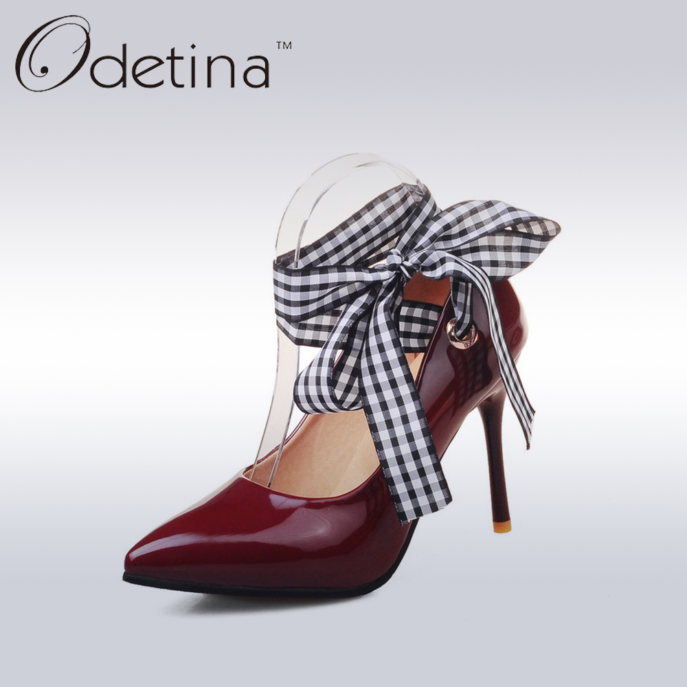 Odetina Ribbon Lace Up Cross-tied Stiletto Heel Women Pumps Patent Leather Ladies Pointed Toe Red Super High Heels Bridal Shoes facndinll new black patent genuine leather pointed toe rhinestone sexy high heels lace up women pumps ladies party casual shoes