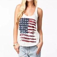 Летний Стиль Мода футболка Для женщин американский флаг США в полоску без рукавов с принтом Безрукавки для женщин дамы Повседневное хлопок ...