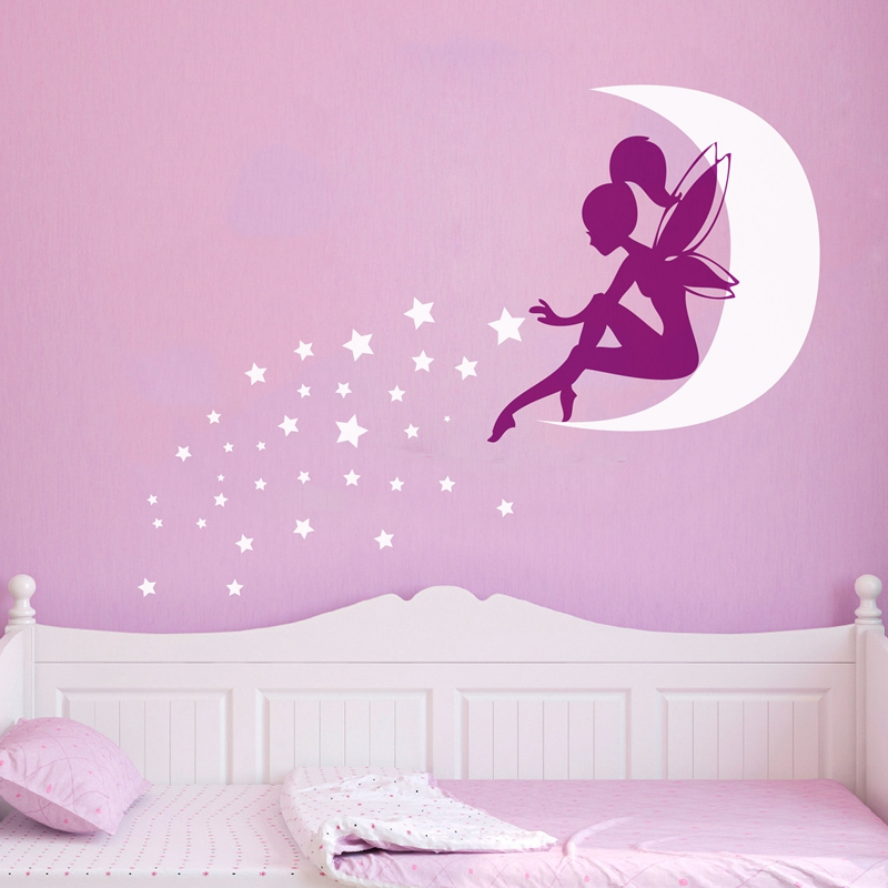 US $8.73 30% OFF|Large size vinyl wall stickers fairy Girl , Pixie Dust  Moon Stars vinyl wall decals girls bedroom art decor free shipping-in Wall  ...