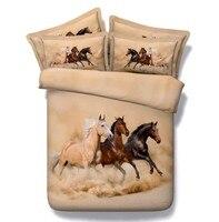 3D лошадь набор постельных принадлежностей покрывала стеганное постельное белье пододеяльник простыня супер Король Размер Королева Твин П