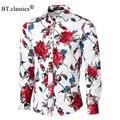 Высокое Качество мужской Цветочный Печати Рубашка Плюс Размер Длинным Рукавом мужчины Мода Slim Fit Рубашка Мужской Гавайских Вскользь Shirs camisa