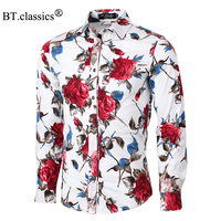 2015 New Autumn High Quality Plus Size Long Sleeved Floral Print Shirts Men Fashion Slim Fit