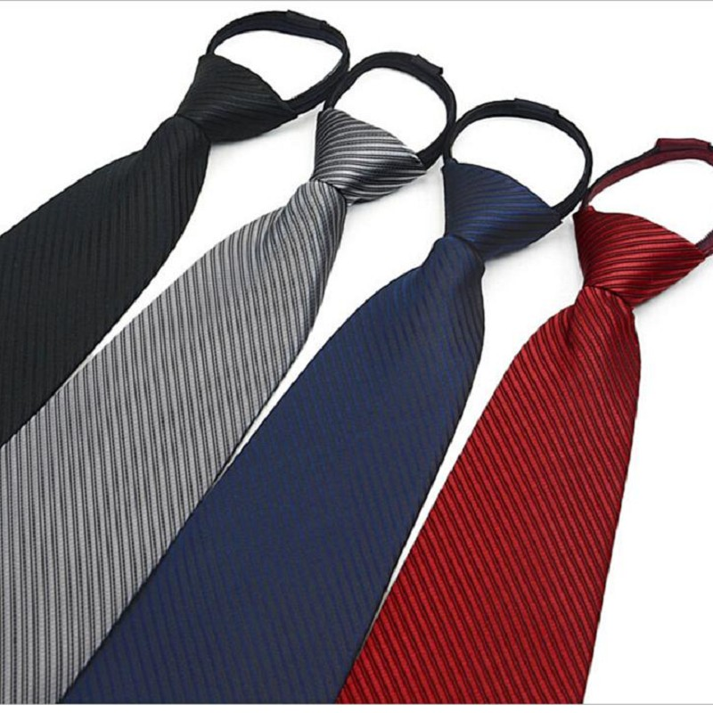 9cm Zipper Tie Strips Business Necktie Zip Polyester Silk Men's Neck Ties Wedding Groom Team Neckwear Ready Bow Tie