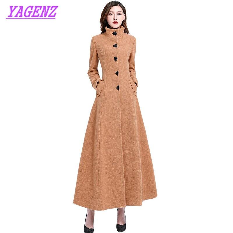 Новый Осенне-зимняя Дамская обувь шерстяная куртка молодых Для женщин тонкий плюс длинные Шерстяное пальто Благородный Для женщин высокое ...