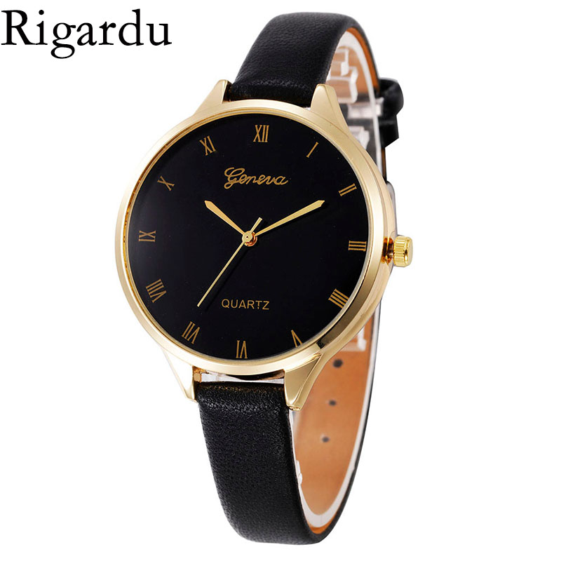 Rigardu Fashion Female Watch Lovers Gift Leather Band Alloy Dial Women Ladies Quartz Wrist Watches Relogio Feminino #25 hot new fashion quartz watch women gift rainbow design leather band analog alloy quartz wrist watch clock relogio feminino