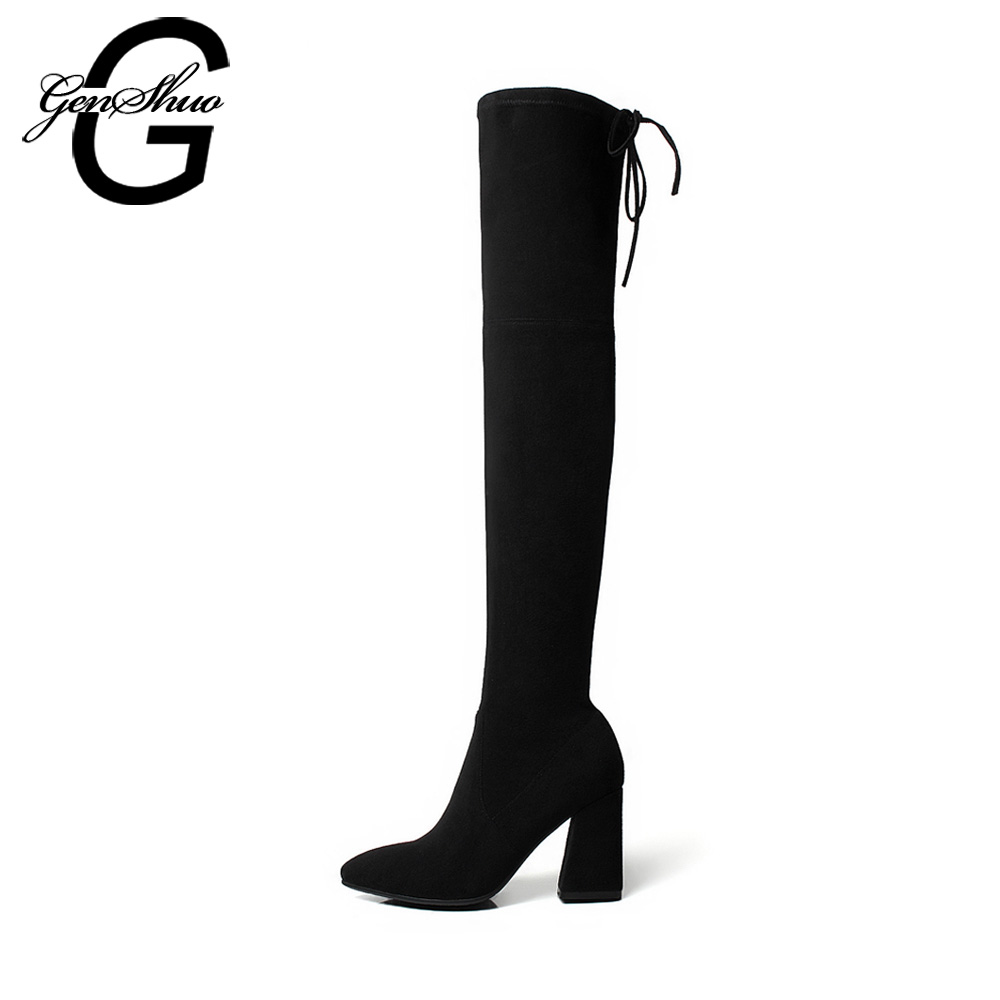 GENSHUO Women Winter Boots Thigh High Boots Stretch Fabric Women Shoes Black Over The Knee Boots Fur Block High Heels chuassure female boots peep toe high thick heels over the knee boots women autumn boots stretch fabric boots casual shoes black