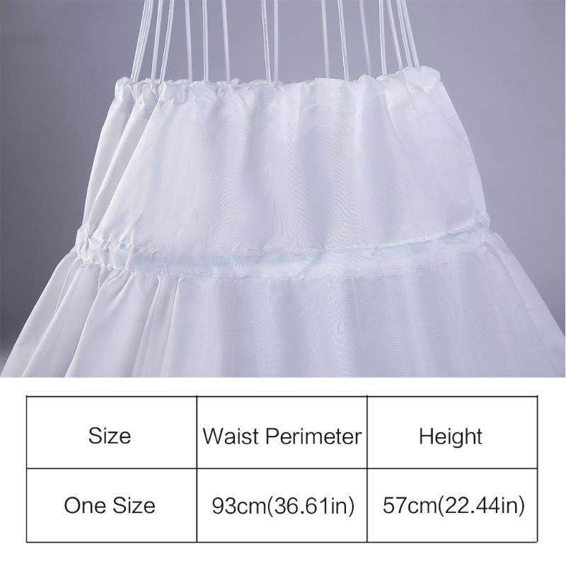 Купить с кэшбэком White Children Petticoat A-Line 3 Hoops One Layer Kids Crinoline Lace Trim Flower Girl Dress Underskirt Elastic Waist Drawstring