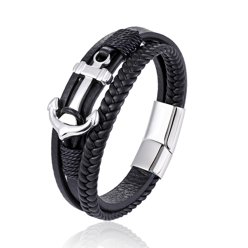 New fashion multi-layered man stainless steel Genuine leather bracelet ship anchor black coffee lady punk bracelet present все цены