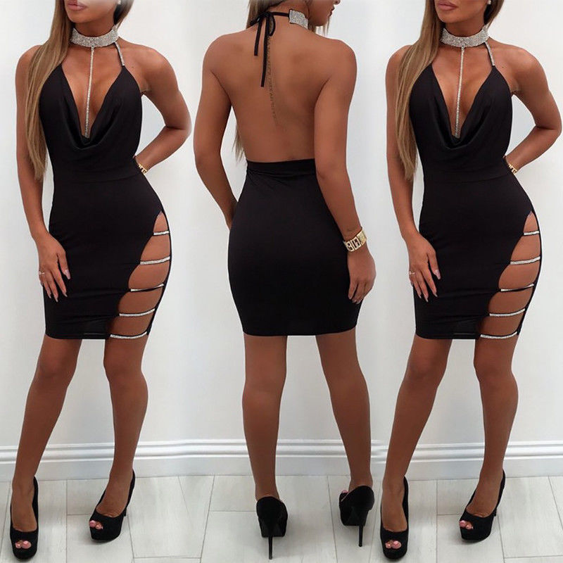 HTB1bm3tObrpK1RjSZTEq6AWAVXar 2019 New Sexy Women's Bandage Bodycon Evening Party V Neck Club Short Mini Dress