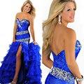 Querida luxo cristal vestido de 15 anos 2014 longo azul Organza quinceanera vestidos vestido para 15 anos de debutante