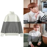 BTS kpop Jung Kook White cotton loose High collar Hoodies Women 2019 Bangtan Boys Hip Hop pullovers Sweatshirts female clothes