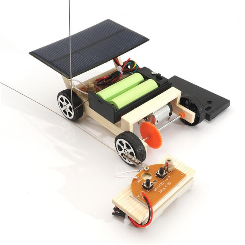 DIY Solar Remote Control Vehicle Wooden Assembly RC Car Science Model Educational Toy Model IQ Intelligence Birthday Gift 70pcs diy wooden theatre mechanical transmission model assembly puzzle toy for kids xmas gift