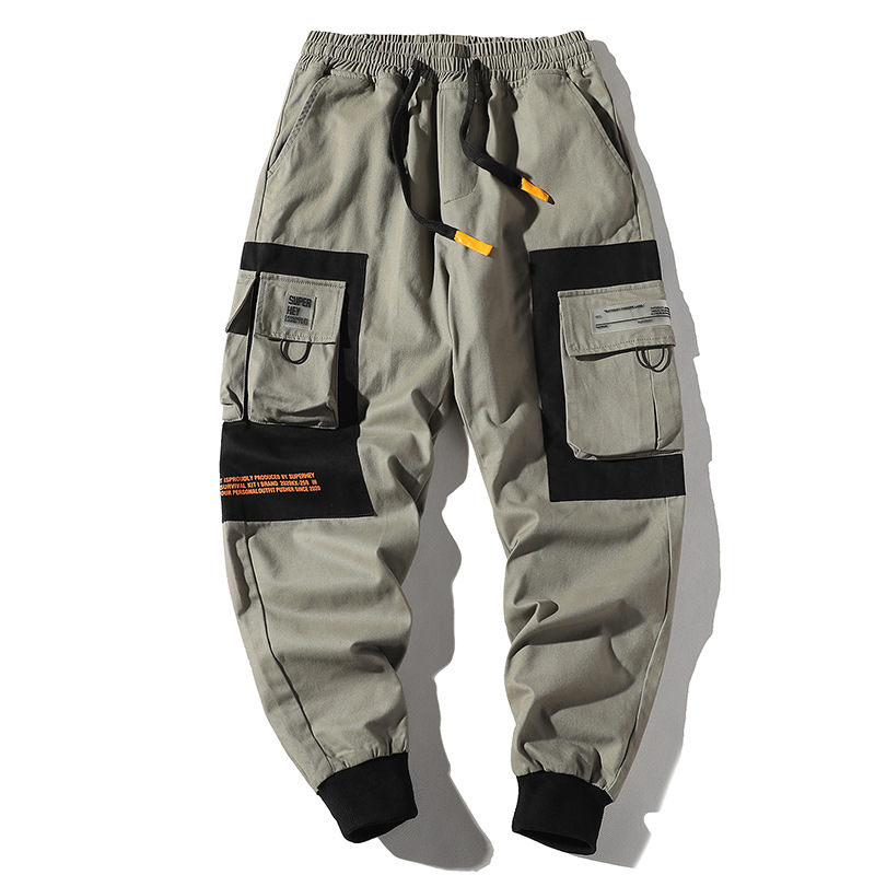 2020 Hip Hop Men Multi-pocket Elastic Waist Design Harem Pant Street Punk Hip Hop Casual Trousers Joggers Male Cargo Pants ABZ51
