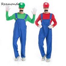 REEMONDE/карнавальный костюм для взрослых с изображением супер Марио, братьев Луиджи, водопроводчика; маскарадный костюм для мужчин и мальчиков; нарядное платье на Хэллоуин; вечерние костюмы