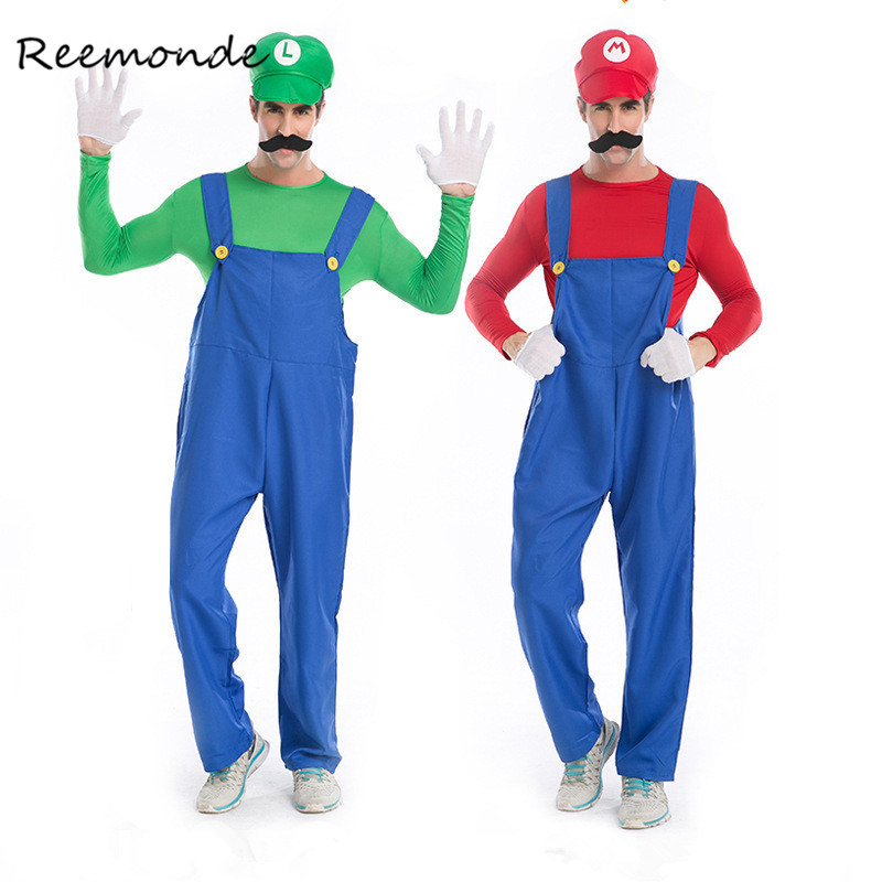 REEMONDE Adults Funy Super Mario Luigi Brothers Plumber Cosplay Costume For Men Boys Halloween Fancy Dress Party Costumes