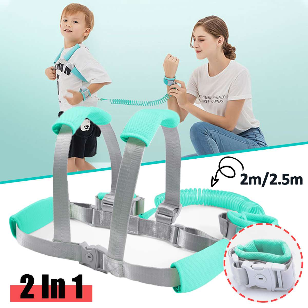 Toddler Anti Lost Wrist Link Add Key Lock Toddler Leash Baby Walker Safety Belt Wristband Walking Strap Rope Adjustable Harness