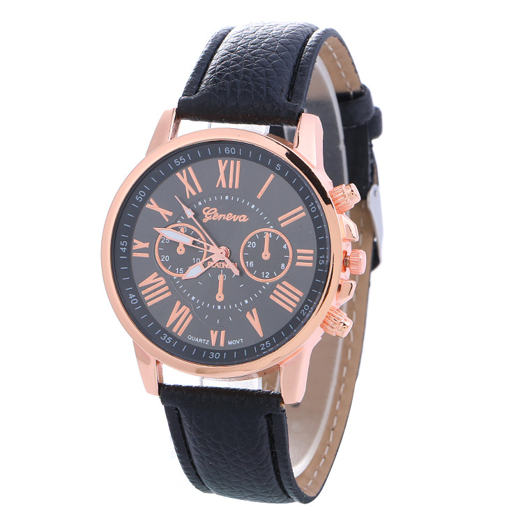 Hot Sales Geneva Brand Watches Women Men Casual Roman Numeral Watch Men Women PU Leather Quartz Wrist Watch relogio Clock