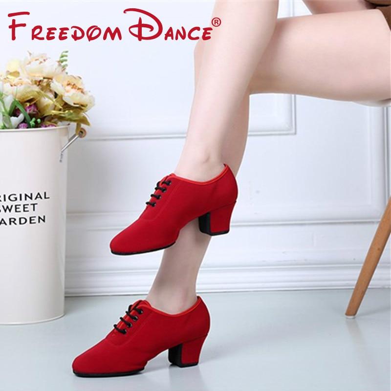 Dancesport Shoes Oxford Latin Dance Shoes For Women Ladies Teaching Shoes T1-b  Girls Waltz Tango Foxtrot Ballroom Shoe 5cm Heel