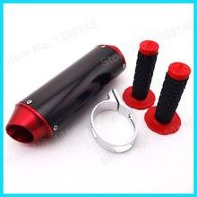 """Красный 38 мм ЧПУ глушитель+ 7/"""" рукоятка штыри для 125 140 150 160 cc китайский для Dirt Pit Bike CRF50 KLX мини-мотокросс"""