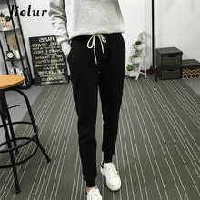 Купить с кэшбэком Summer New Fitness Long Pants Female Leisure Soft Trousers for Women Drawstring Solid Color Casual Harem Pants Plus Size M-2XL