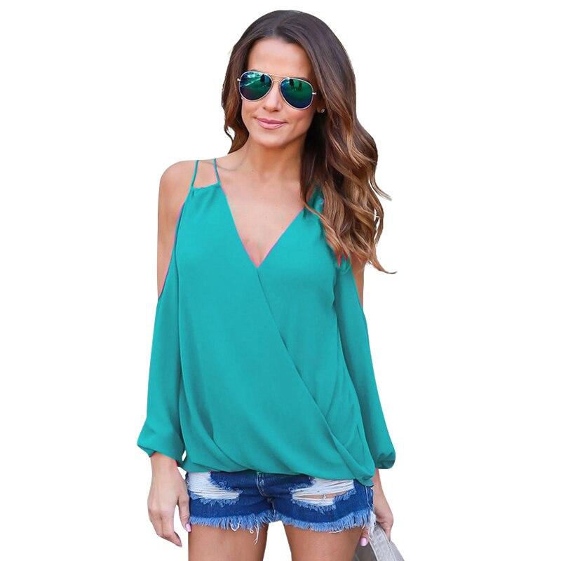 Camisa Blusa de La gasa Sexy Hombro Correa de Espagueti de la Blusa de Verano 20