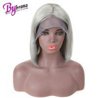 Полный шнурок серый натуральные волосы парик для черный Для женщин натуральных волос 100% Remy бразильский Прямо Короткие Блант Cut Боб full lace пар