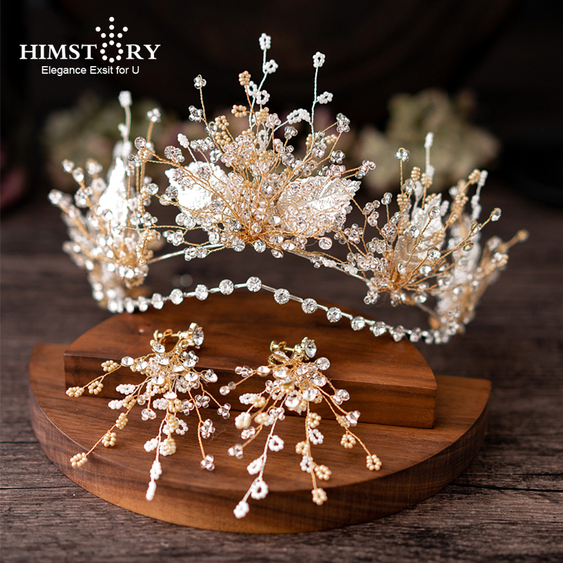 HIMSTORY High grade Handmade Pearl Leaf Wedding Hairband Tiaras Crown Bridal WEdding Headpiece Hair Jewelry Accessories in Hair Jewelry from Jewelry Accessories