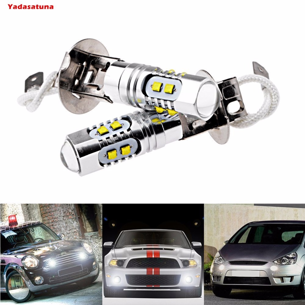 2x High Quality 10*5W 50W 6000K <font><b>Cree</b></font> Chips White <font><b>H3</b></font> Projector <font><b>LED</b></font> Bulb For Auto Car Head Fog Daytime Running Light DRL 24V 12V image