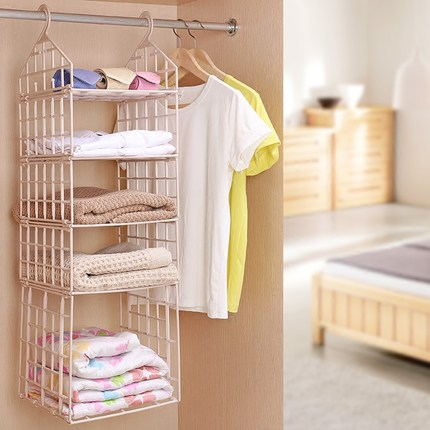 Creative Hanging Closet Shelves For Bedroom Folding Plastic Wardrobe  Storage Rack Hanging Clothes Organizer In Hanging Organizers From Home U0026  Garden On ...