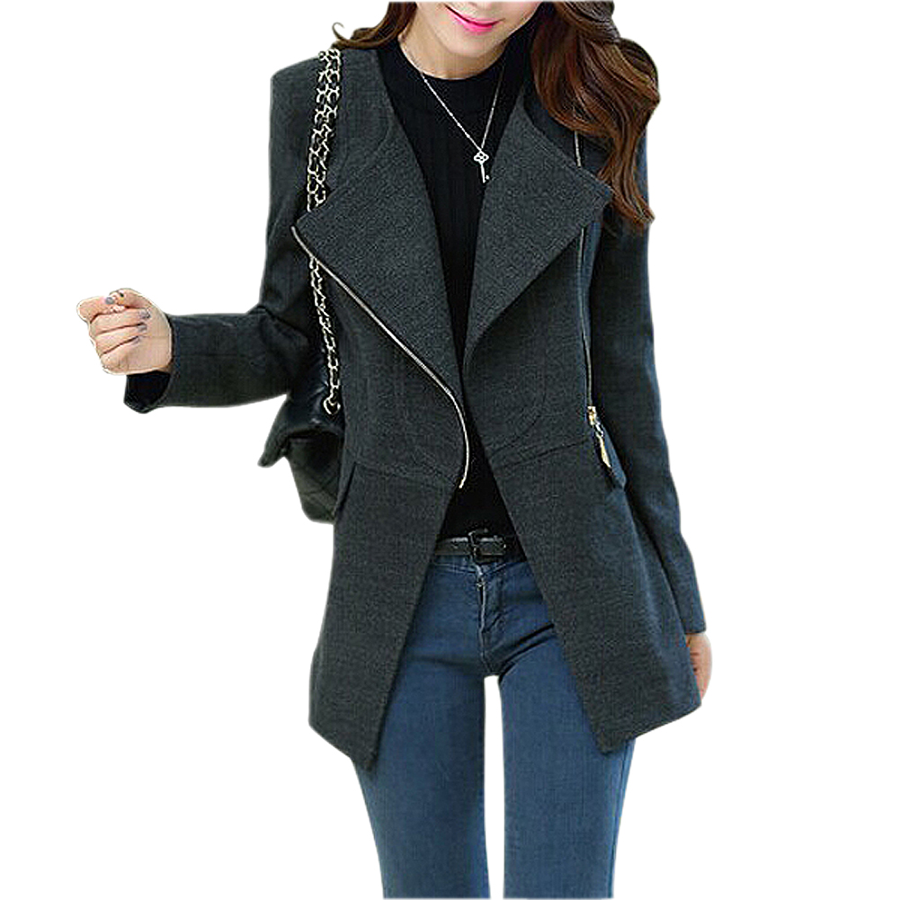 SYB 2018 NEW Women Woolen Winter Warm Zipper Trench Long Coat Jacket Parka Outwear Black