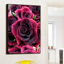 Home Decoration Diamond full Painting rhinestone Cross Stitch rose flower Diy  Embroidery Floral Mosaic Wall