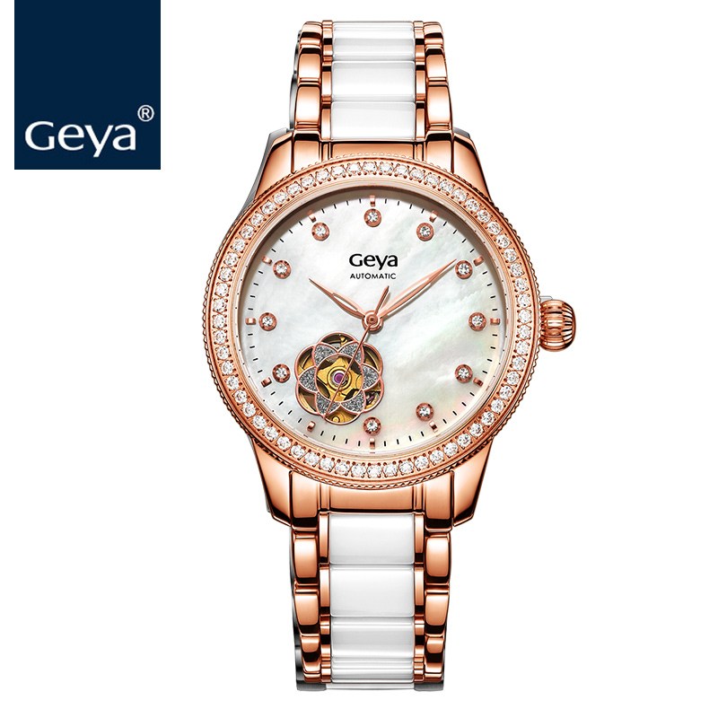 Geya 2017 Women Watches Top Brand Luxury Tourbillon Waterproof Ceramic Women Diamonds Watch Automatic Mechanical Hollow Watches