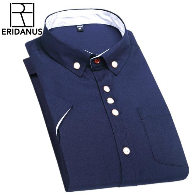 2016 Hombres Adelgazan las Camisas de Vestido de Verano de Moda Diseño Único Breasted Botón De Alta Calidad Con Cuello de Manga Corta Camisa Casual M066