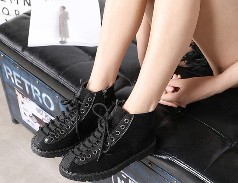 COOTELILI Winter Shoes Women Rubber Ankle Boots For Women Black Basic Fashion Lace Up Plush Boots Female Women Shoes Flat (3)