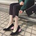 2017 Primavera Outono Cor Da Moda Doces Bombas Das Mulheres do Salto Quadrado Quadrado Toe Med de Salto Alto OL Bombas 6 CM Todos Os Sapatos Jogo