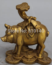 WBY Chinese Bronze Carved Wealth Money Fu Pig Swine Animal Hold Ruyi Words Sculpture(China)