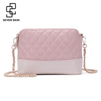 SEVEN SKIN Women Leather Messenger Bags Luxury Design Solid Shoulder Crossbody Bag Ladies Small Flap Chain