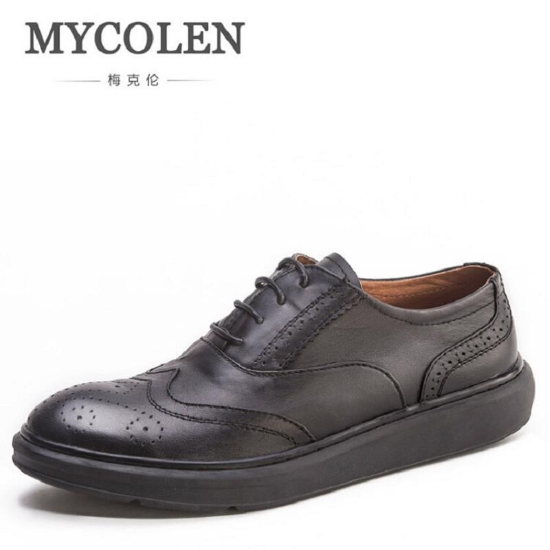 MYCOLEN Brand Genuine Leather Men Shoes Handmade Autumn Winter Brand High Quality Men Flats Shoes Comfortable Wear Shoes zxq brand handmade new winter men oxford shoes solid color high quality retro british style men flats leather shoes