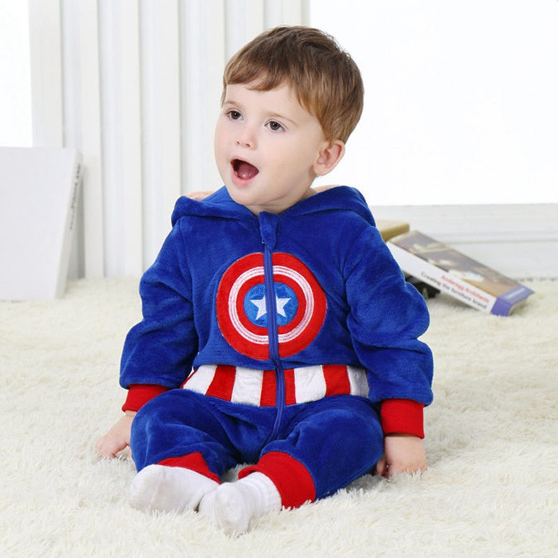 Spring and autumn baby boy clothes spiderman Captain America baby boy rompers Red Blue newborn clothes bodysuit one piece bebe (16)
