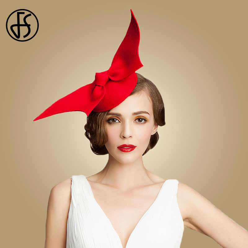 FS Fascinator Hats For Women Red Black 100% Wool Pillbox Wedding Hat Ladies Bowknot Vintage Felt Cocktail Tea Party Fedoras