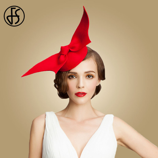 5dd588e5f15 FS 100% Australia Wool Pillbox Wedding Fascinator Hats For Women Red Black  Bowknot Lady Vintage Felt Cocktail Party Fedoras