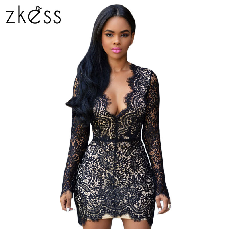 2e38c6cbba1a Zkess Long Sleeve Black Lace Dress Women Bodycon Sexy Slim Open Back Nude  Lace Dresses V Neck Mini Elegant Party Dresses LC22535