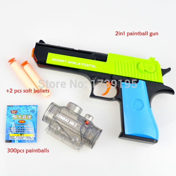 2015 new 2in1 desert eagle gun Nerf Air Soft Paintball Gun Pistol & Soft  Bullet CS