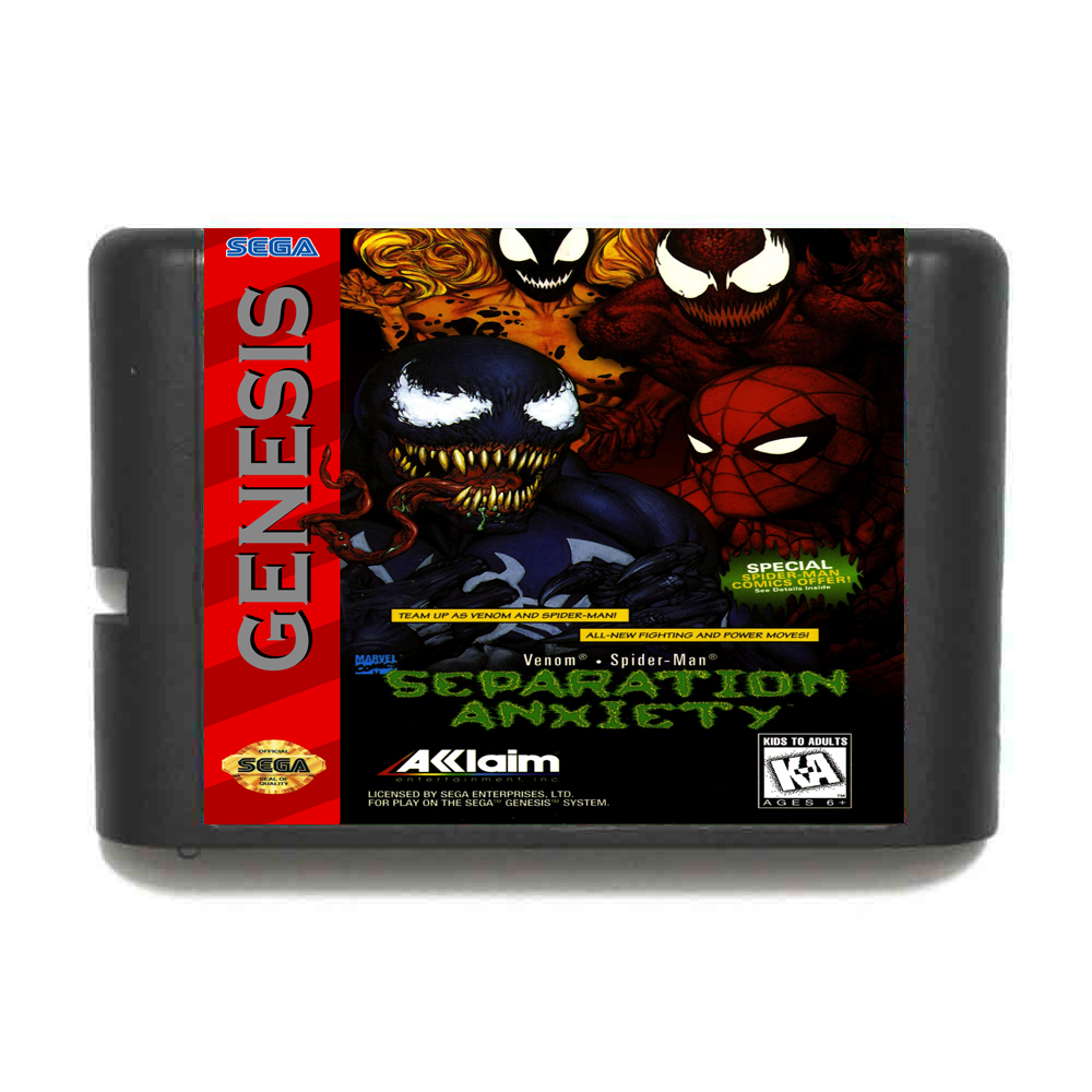 41ef7467e84 Spiderman and Venom in Separation Anxiety 16 bit MD Game Card For Sega Mega  Drive For Genesis