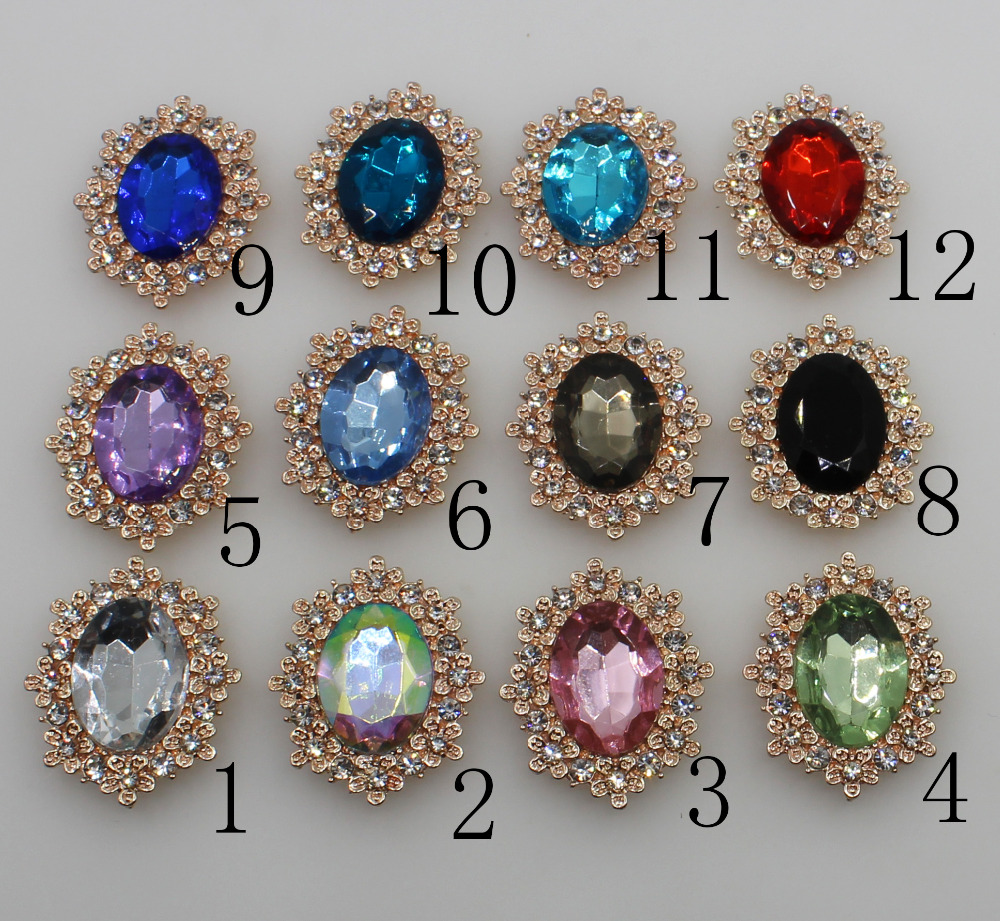 Fashion 10pc 25*30mm Golden Color Rhinestone Buttons Wedding Decoraation DIY Crafts Scrapbooking Clothing Hair Accessories